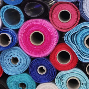 Rolls of colourful fabric