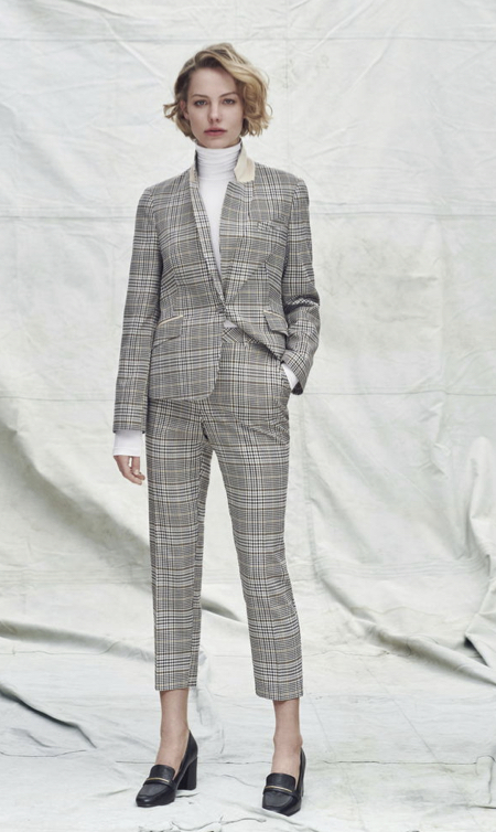 Tone on tone checked suit style