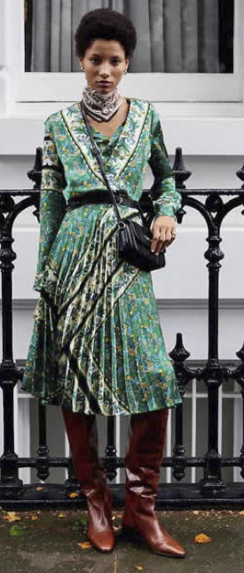 Green mixed patterned dress from Mango