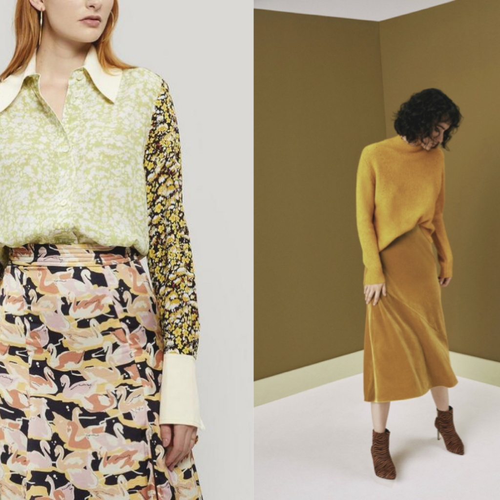 Yellow floral skirt and blouse mixed patterned look. Mustard tonal style