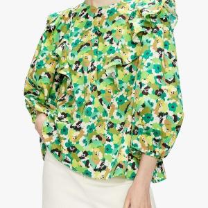 Green shoulder detailed blouse